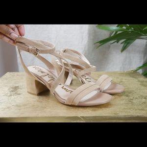 Sam Edelman tan strap block heels